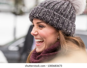 STOCKHOLM/SWEDEN – JANUARY 30 2018: Prince William and Kate (Catherine Duchess of Cambridge) visiting an ice rink in Stockholm to learn about bandy.