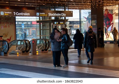 Stockholm-Sweden: Nov 2020: An escalator to the underground station Stockholm City at Drottninggatan street during pandemic of coronavirus on an autumn day. Selected focus.