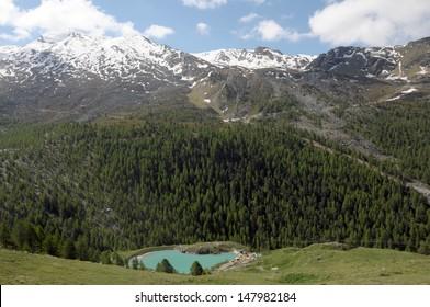 Stockhorn above Moosjisee lake in Swiss Alps