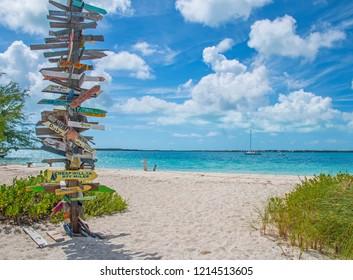 Stocking Island beach in Exuma, Bahamas.