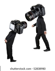 stock-photographer in black. professional and amateur.