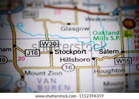 Salem Iowa Map.Stockport Iowa Usa On Map Stock Photo Edit Now 1152396359