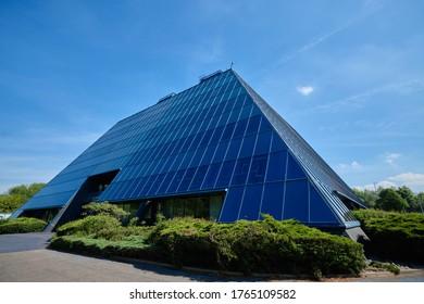Stockport, Manchester, England, UK - 20/05/2020: The Pyramid building, Stockport, Cheshire, Manchester, England, UK.
