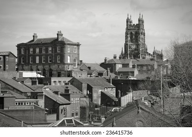 Stockport town in North West England (UK). Part of Greater Manchester. Townscape with church. Black and white tone - retro monochrome color style.
