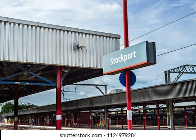 STOCKPORT, UK - JUNE 23, 2018: Platform at Stockport Train Station near Manchester, Great Britain