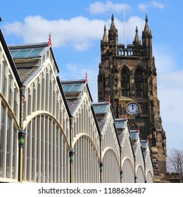 Stockport UK. Old Market Hall and church tower.