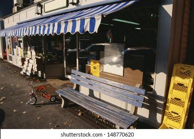 STOCKRIDGE, MA - CIRCA 1980's: Public market storefront in Stockridge, MA