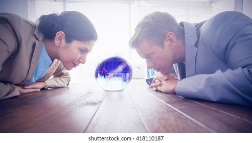 Stocks and shares against business partners watching crystal ball