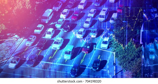 Stocks and shares against high angle view of traffic on road
