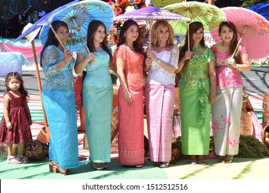 Stockton, CA (April 13, 2019)- Cambodian ladies in traditional dress take part in the Cambodian New Year celebration at Stockton Cambodian Buddhist Temple (Wat Dhammararam).