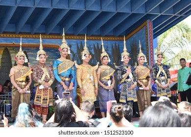 Stockton, CA (April 13, 2019)- Cambodian classical dancers get ready for the performance for Cambodian New Year celebration at Stockton Cambodian Buddhist Temple (Wat Dhammararam).