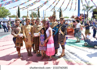 Stockton, California (April 13, 2019), Cambodian dancing performers in traditional custom take a group picture during their break at Stockton Cambodian Buddhist Temple (Wat Dhammararam).