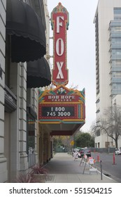 STOCKTON, CALIFORNIA - JANUARY 6, 2017: The historical landmark, The Bob Hope Theater, was built in 1930. It was rebuilt by Alex Spanos to honor his friend Bob Hope.