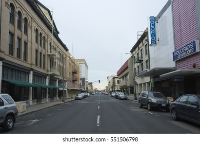STOCKTON, CALIFORNIA - JANUARY 6, 2017: Distressed Main Street in one of the largest cities to file for bankruptcy.