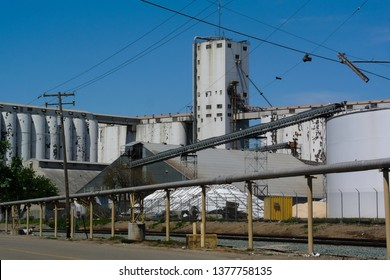 Stockton, California / USA - April 22, 2019: The Penny Newman grain elevator is one of the largest operations on the West coast.  The Port of Stockton competes with nearby Oakland facilities.