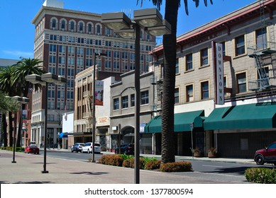 Stockton, California / USA - April 22, 2019: Stockton launched a experimental program to provide 130 residents with a basic income of $500 a month. The city filed for bankruptcy in 2012.