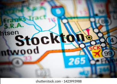 Stockton. California. USA on a map