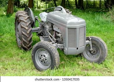 Stockton, Wiltshire UK - June 01 2014: A vintage Ferguson Tractor on public display at the Vintage Nostalgia Show