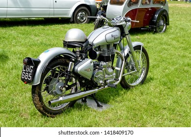 Stockton, Wiltshire / UK - June 1 2014: A Royal Enfield Bullet 500 classic motorcycle at the Vintage Nostalgia Show, Stockton, Wiltshire, United Kingdom,1st June 2014.