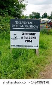 Stockton, Wiltshire / UK - June 1 2014: The Vintage Nostalgia Show entrance sign at Stockton, near Warminster, Wiltshire, United Kingdom, 2014.