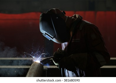 STOCKTON-ON-TEES, TEESSIDE/UK - FEBRUARY 15th 2016 - An engineer MIG welding a wind farm accessory at Francis Brown Ltd. in Stockton-on Tees, UK, on Feb. 15th 2016.