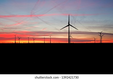 Stoessen Germany: Windfarm at dusk
