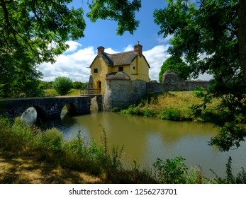 Stogursey Castle, a 10th Centruy Moat and Bailey now a Landmark Trust property near Bridgewater, Somerset, UK