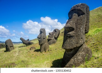 The stoic and mysterious moai stand in mute testament to the work of ancient Polynesians, at Rano Roraku quarry on Rapa Nui. How they were moved from the quarry to their ritual Ahus is still a mystery