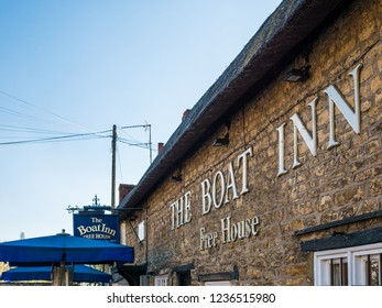 Stoke Bruerne UK October 31 2018: boat inn pub and restaurant next to canal river in village in northamptonshire, england