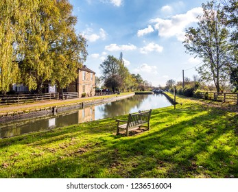 Stoke Bruerne UK October 31 2018: marstons the navigation pub next canal river in village in northamptonshire, england