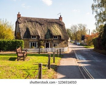 Stoke Bruerne UK October 31 2018: traditional english cottage house in stoke bruerne village in northamptonshire, england