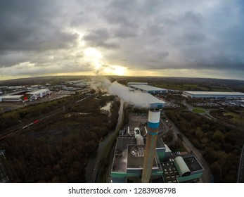 Stoke on Trent incinerator recycling centre based in the midlands Staffordshire, garbage, refuse, waste incineration plant with smoking smokestack creating more industrial pollution