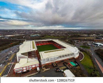 Stoke on Trent, Staffordshire - 16th January 2019 - Aerial view of the BET365 stadium home of Stoke City Football Club, the Potters