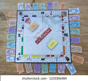 Stoke on Trent, Staffordshire - 18th November 2018 - An above view of the Monopoly board, 80th year collectors edition