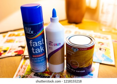 Stoke on Trent, Staffordshire - 31st October 2018 - Blu tak fast tak spray glue and various other glues needed for an art project