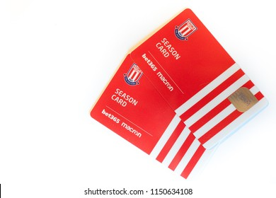 Stoke on Trent, Staffordshire, 5th-August-2018 - Stoke City Football Club New Season Cards on a plain bright white background