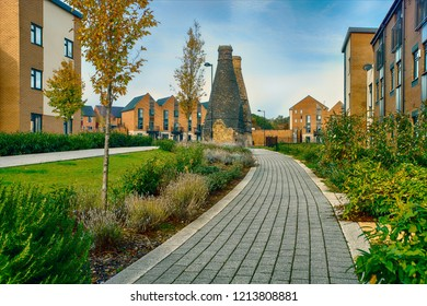 Stoke on Trent,England - October 14,2018 :  Typical of the industrial landscape of Stoke-on-Trent,A bottle kiln, or bottle oven,'bottle' refers to the shape of the structure all are preserved