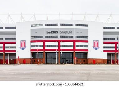 STOKE-ON-TRENT, ENGLAND - JUNE 25: The Bet 365  Stadium (formerly the Britannia Stadium), home of Stoke City Football Club in Stoke-On-Trent, England is pictured on June 25, 2016.