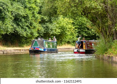 STOKE-ON-TRENT, STAFFORDSHIRE, UK - AUGUST 6, 2018: A waterside view of Stoke, in the former industrial heartland of England, seen from a narrowboat on the Staffordshire and Warwickshire canal .