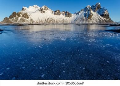 Stokkness vestrahorn, Iceland in winter