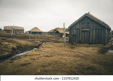 Stokksnes, Iceland Stokksnes also known as the Viking Village. Old village with green roofs and wood buildings. The authentic Viking Village was built at the foot of Mount Vestrahorn. March 2017