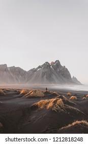Stokksnes Vestrahorn mountain, Iceland scenary, Traveling Iceland, Sunset in Iceland