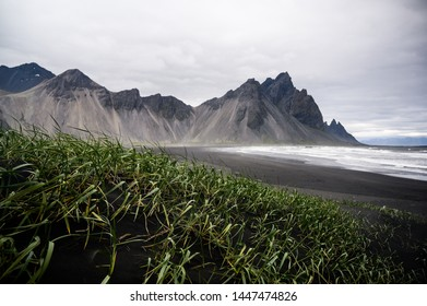 Stokksness beach with black sand and Vesturhorn mountains