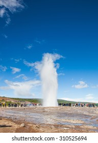 Stokkur, Iceland - July 20, 2015: Eruption, Geysir Stokkur, amazing location in the Golden Circle near Reykjavik. Erupting copiously and frequently: as often as every 4 to 8 minutes.