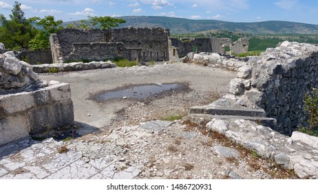 STOLAC; BOSNIA AND HERZEGOVINA - JULY 15, 2019: Vidoska Fortress, located on the hill of the oldest town in Bosnia and Herzegovina, was founded by the emperor Constantine in the 5th century.