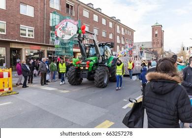 STOLBERG, GERMANY, FEBRUARY 28, 2017 - People at the Rose Monday Parade (Rosenmontagszug)