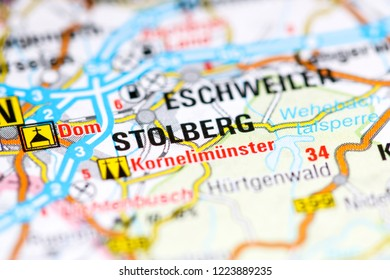 Stolberg. Germany on a map
