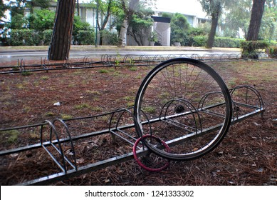 Stolen bike, there is only one wheel that is bound.