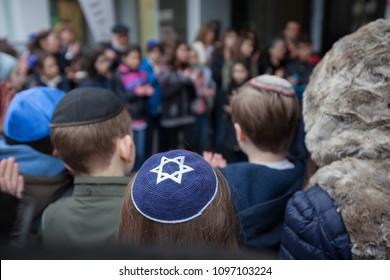 Stolpersteine memorial with jewish children