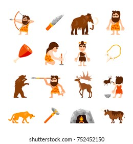 Stone age icons set of caveman animals bonfire weapons meat and charm isolated  illustration